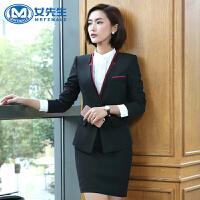女先生 春秋职业装女装套装套裤长袖女士西服OL修身大码正装面试工作服